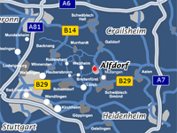 Traveling routes to Alfdorf via autobahn